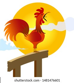 Rooster crowing at farm field in the morning with sun rising - Vector