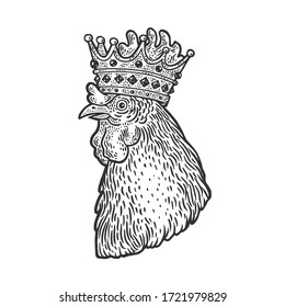 rooster in the crown sketch engraving vector illustration. T-shirt apparel print design. Scratch board imitation. Black and white hand drawn image.