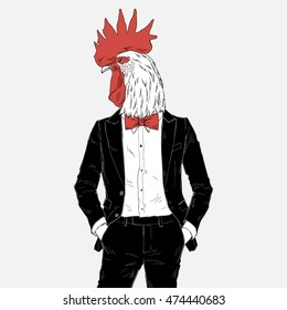 rooster dressed up in tuxedo, anthropomorphic illustration, fashion animals