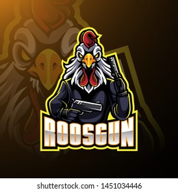 Rooster with gun mascot logo design