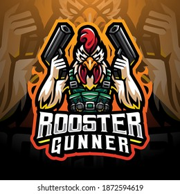 Rooster gunner mascot logo design
