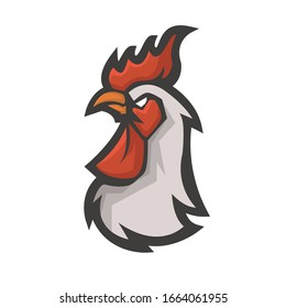 Rooster head athletic club vector logo concept isolated on white background. Modern sport team mascot badge design. E-sports team logo template with Chicken vector illustration