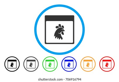 Rooster Head Calendar Page vector rounded icon. Image style is a flat gray icon symbol inside a blue circle. Additional color versions are gray, black, blue, green, red, orange.