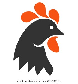 Rooster Head icon. Vector style is flat iconic symbol on a white background.