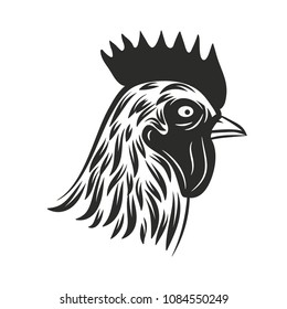 Rooster head isolated on a white background. Vintage vector illustration.