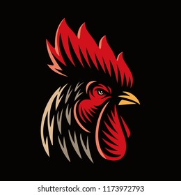 Rooster head logo mascot illustration