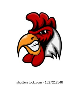 Rooster Head Mascot Vector logo Template