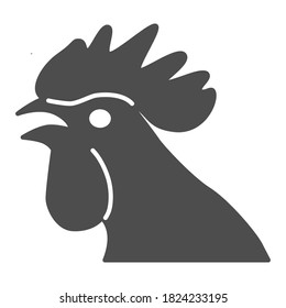 Rooster head solid icon, domestic fowl concept, chicken head sign on white background, cock silhouette icon in glyph style for mobile concept and web design. Vector graphics.