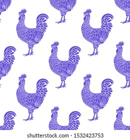 Rooster. Hen or chicken hand drawn with contour lines on white background. Elegant monochrome drawing of domestic farm poultry bird. illustration in vintage woodcut, engraving or etching style. Vector