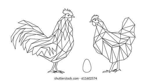 Rooster and hen illustration, vector file