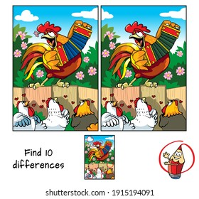 Rooster and hens. Find 10 differences. Educational game for children. Cartoon vector illustration