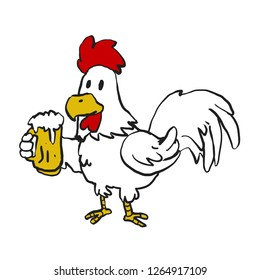 Rooster holding a mug of beer