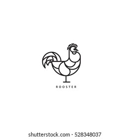Rooster icon. Flat line geometrical illustration of a cock for Year of the Rooster designs.