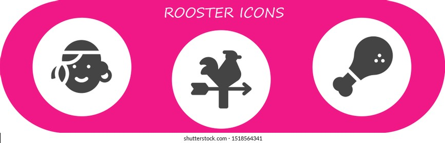 rooster icon set. 3 filled rooster icons.  Simple modern icons about  - Portuguese, Vane, Chicken