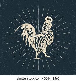 Rooster label. Vintage styled vector illustration