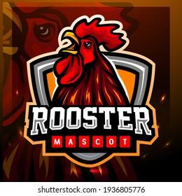 Rooster mascot. esport logo design