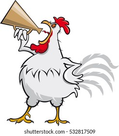 Rooster with megaphone