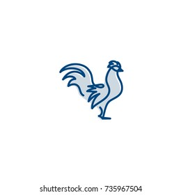 Rooster minimal vector illustration, happy new year 2017, 2018