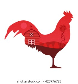 Rooster Silhouette and Farm Landscape