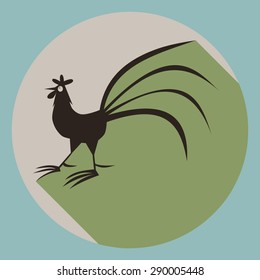 Rooster silhouette on round button with long shadow in subdued colors.