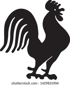 Rooster Silhouette - Retro Ad Art Illustration of Barnyard Icon