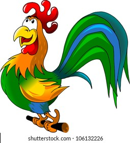 Rooster sits on a perch welcomes the sun (illustration);