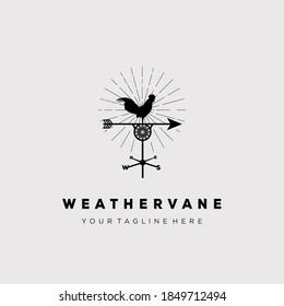 Rooster symbol. Weather vane logo vector illustration design