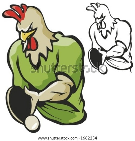 Rooster Table Tennis Mascot For Sport Teams. Great For School Mascot Logo  And Any Other