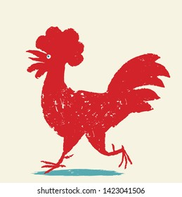 Rooster vector illustration. Red cock is coming