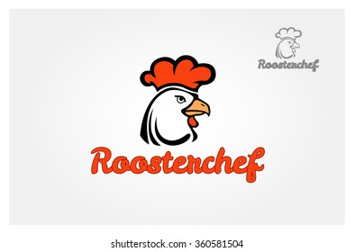 Rooster vector logo template. Bird cock minimal illustration.