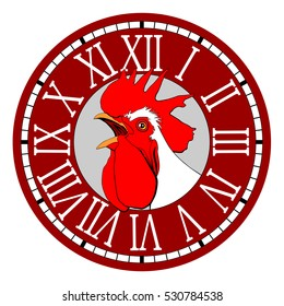 Rooster in the watch dial.