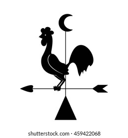 Rooster weather vane instrument to measure wind speed and direction of rotation of the vertical rod plate flag weathervane. Rooster weathervane weather vane silhouette , vector sign.