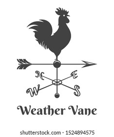 Rooster weather vane. Retro house rooster sign, old design weathercock arrow with chicken, vector wind vane direction illustration isolated on white background