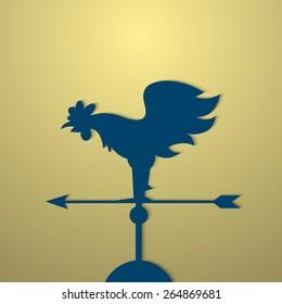 Rooster weather vane. Vector EPS10