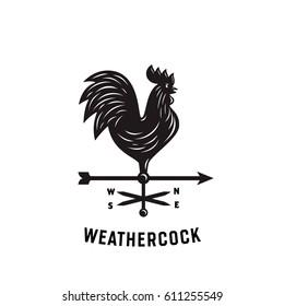 Rooster Weather Vane. Weathercock Wind-vane Silhouette Vector Illustration.  Vintage Emblem Badge Logo.