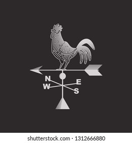 Rooster weather vanes with arrow. Vector flat icon isolated on background.
