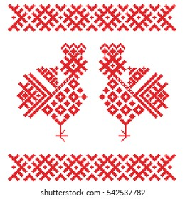 Roosters or chickens  of the elements of the Belorussian, Russian and Slavic ornament.  Traditional national cross-stitch. Happy  Easter.
