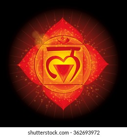 Root of Base Chakra (Muladhara). Glowing chakra icon . The concept of chakras used in Hinduism, Buddhism and Ayurveda. For design, associated with yoga and India. Vector illustrated