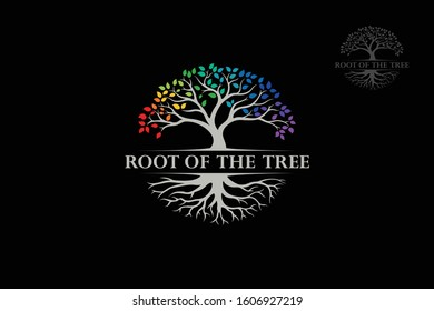 Root Of The Tree Rainbow - vector logo illustration. This logo symbolize a protection, peace,tranquility, growth, and care or concern to development on black background.