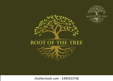 Root of The Tree Vector Logo Template. The tree is symbol of strength, longevity, fertility, hope and continuity. This logo can be used by landscape business, hotels, financial, insurance, etc.