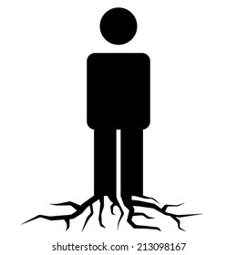 Rooted | man silhouette with roots icon