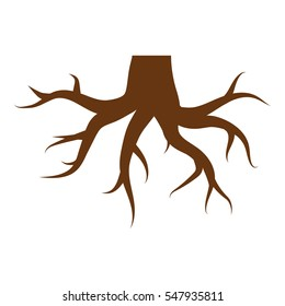 Roots illustration - glyph style icon - brown