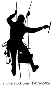 Rope access technician washes windows