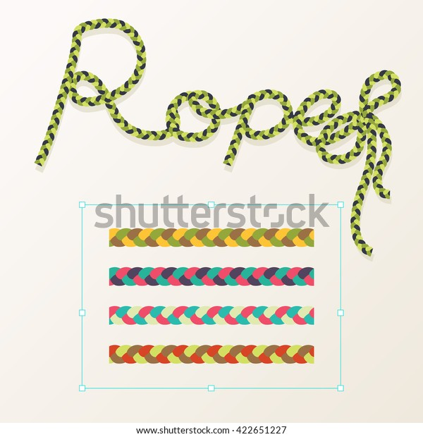 Rope brush braid for decoration design.Vector illustration. Set of rope braid tree color design. Colorful rope.