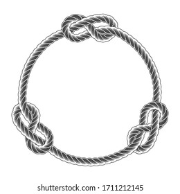 Rope circle frame with knots, simple style line rope, marine border