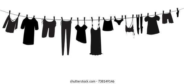 rope clothes silhouette, laundry day silhouette, vector