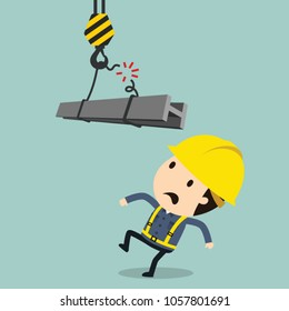 Rope cutting during the transport of crane, Vector illustration, Safety and accident, Industrial safety cartoon