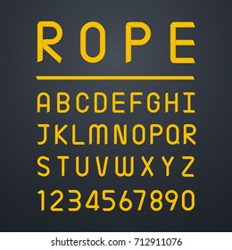 Rope font alphabet and number. Element for graphics design. Vector illustration.