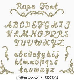 Rope font, nautical hand written Letters, sea style rope-characters, decorative Latin alphabet