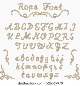 Rope font, nautical hand written Letters from A to Z, sea style rope-characters, decorative Latin alphabet. Vector